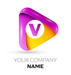 Realistic letter v symbol in colorful triangle vector