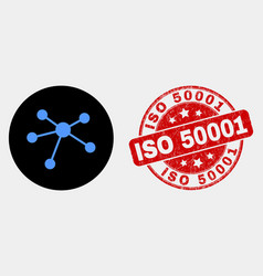 Relation links icon and scratched iso 50001 vector