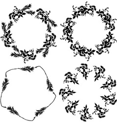 Round floral frame set black leaves on white vector image