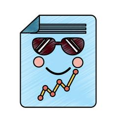 Sad graph chart wth sunglasses kawaii icon imag vector