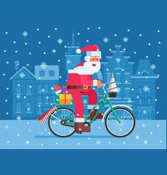 santa with gift bag on christmas bike vector image