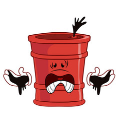 Scared red barrel with oil on his hands vector