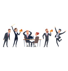 screaming people angry business characters woman vector image