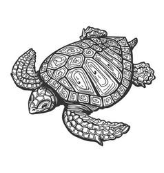 Sea turtle tattoo vector