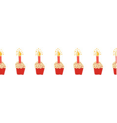 seamless border cupcakes with a candle cute vector image