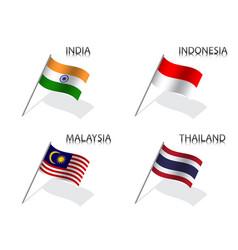 Set four waving flag india indonesia thailand vector