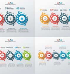 Set of business infographic templates with gears vector