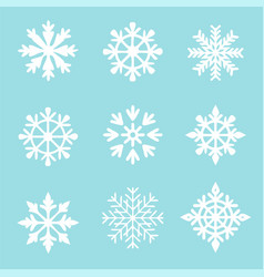 set white snowflakes on a blue vector image