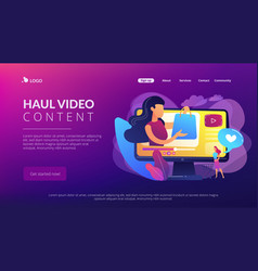 Shopping sprees video concept landing page vector
