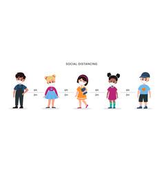 Social distance back to school kids wearing vector