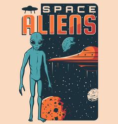 Space aliens ufo spaceship retro banner vector