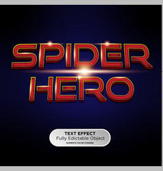 Spider hero or superhero 3d font effect mockup vector