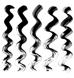 Staggered lines drawn with a brush on paper vector