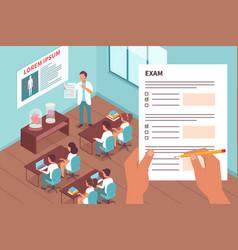 Students in exam design concept vector