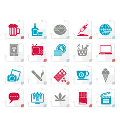 stylized different types of addictions icons vector image