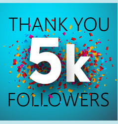 Thank you 5k followers card with colorful vector