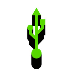 Usb sign green 3d icon with vector