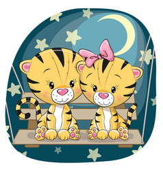 Valentine card with lovers tigers vector
