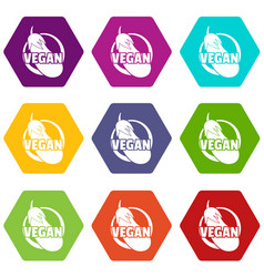 vegan icons set 9 vector image