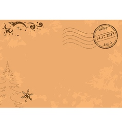 Vintage christmas postcard with post stamp vector