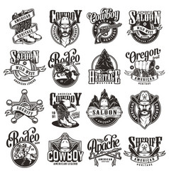 vintage wild west emblems collection vector image