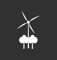 White icon on black background wind turbine vector