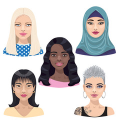 woman character avatar set vector image