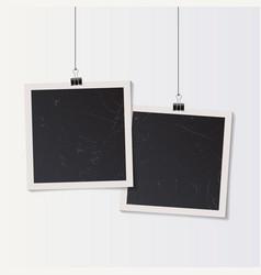 blank retro vintage photo frame set hanging on a vector image