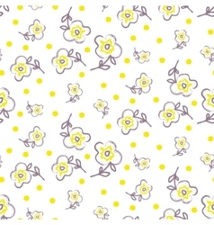 Brush stroke seamless yellow flowers pattern vector image