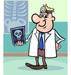cartoon doctor with xray vector image vector image