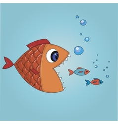 Fish trying to eat two small fishes vector image vector image