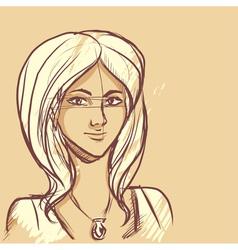 Sketch of woman portrait vector image