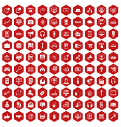 100 web and mobile icons hexagon red vector image vector image