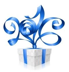 blue ribbon and gift box 2016 vector image vector image