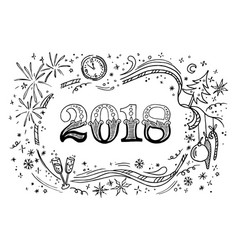 cartoon doodles 2018 hand drawn new year vector image vector image