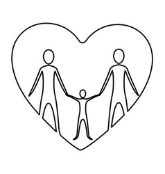 Monochrome contour of heart with family group vector