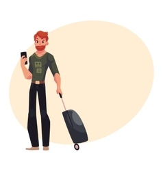 Young man with suitcases and phone in jeans t vector image vector image
