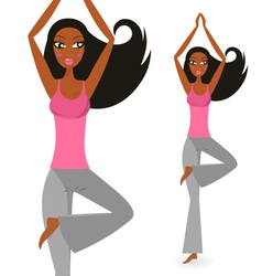afro - american woman in yoga standing pose vector image