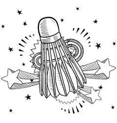 doodle pop shuttlecock vector image vector image