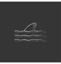 Dorsal shark fin above water Drawn in chalk icon vector image