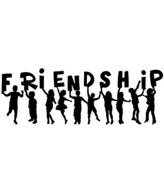 Friendship concept with black sillhouettes of vector image