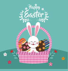 happy easter bunny in basket egg vector image vector image