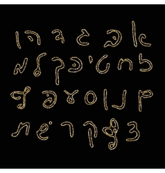 Hebrew alphabet Uppercase font Hand drawing vector image vector image