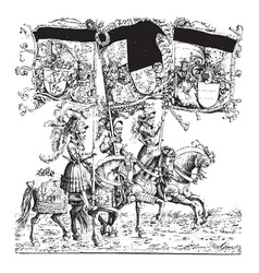 horsemen three abreast with banners from the vector image