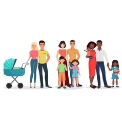 International Happy young family detailed couples vector image