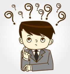 Man with question marks vector image vector image