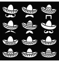 Mexican Sombrero hat with moustache or mustache wh vector image