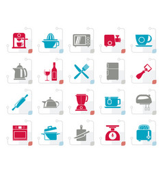 stylized kitchenware objects and equipment icons vector image vector image