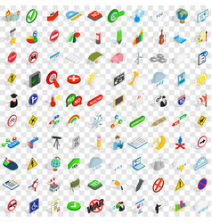 100 pointer icons set isometric 3d style vector image