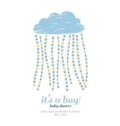 Baby shower boy invitation Cloud hearts drops vector image vector image